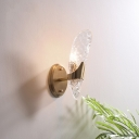 Textured Glass Wall Lighting Contemporary 1/2-Light Oblong Sconce Light in Brass for Dining Room