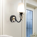Frosted Glass Cone Wall Lighting with Curved Arm 1/2 Lights Vintage Wall Sconce Light in Black/Gold for Living Room