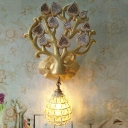 Sphere/Teardrop Sconce Lamp with Tree Backplate Village Style Resin 1 Bulb Gold Wall Lighting