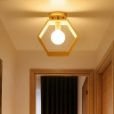 Triangle/Square/Pentagon Semi Flush Mount Light with White Glass Modern 1 Head Ceiling Mounted Fixture in Wood