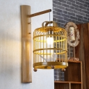 Chinese Style Birdcage Suspender Wall Light with White Bird Accent 1 Light Wooden Sconce Light