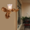 Frosted Glass Petal Wall Mount Lighting with Eagle Accent Country 1 Light Wall Sconce Lighting in Brass