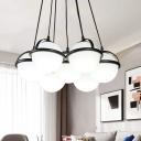 Milk Glass Globe Hanging Lamp Modern 1 Light Living Room Chandelier Light in White