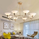 Metal Saucer Hanging Chandelier with Opal Glass Shade Mid-Century 8 Lights Suspension Light in Gold