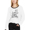 Leisure Style Letter JUGHEAD JONES WUZ HERE Print Round Neck Long Sleeve White Top
