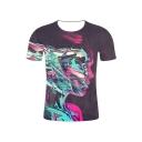 Summer Hot Popular 3D Abstract Pattern Print Short Sleeve Slim Fit T-Shirt Top