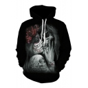 Fancy Floral Skull Pattern 3D Print Long Sleeve Black Drawstring Hoodie