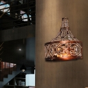 Metal Cage Wall Light Fixture Industrial Vintage 2 Lights Wall Sconce in Rust for Corridor