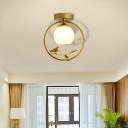 Gold Metal Ring Semi Flush Light with/without Crystal Modern 1 Bulb Ceiling Mounted Light with Glass Dome Lampshade