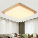 Wood Square Flush Ceiling Light Acrylic Modern LED Ceiling Fixture in Warm/White Light, 12.5