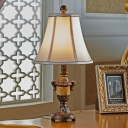 Traditional Table Light with White Fabric Shade 1 Head Standing Table Lamp in Aged Brass