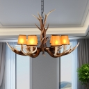 Brown Finish Cone Hanging Pendant Light with Antlers Design Lodge Fabric 6/8/10-Bulb Chandelier Light Fixture