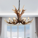 Restaurant Antlers Ceiling Chandelier with Bare Bulb Country Resin 6/8/10/12/15 Lights Pendant Lighting in Light Brown