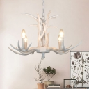 Balcony Antlers Ceiling Pendant Light Lodge 4/6/8-Head Resin Chandelier Light Fixture in White