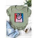 Funny Pig with Glasses Pattern Short Sleeve Casual T-Shirt