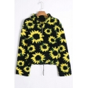 Sunflower Printed Stand Collar Half Zip Drawstring Hem Cropped Fluff Teddy Sweatshirt