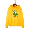 Letter TO THE DISCO Unicorn Pattern Long Sleeve Drawstring Fleece Hoodie with Pocket