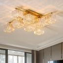 4/6/8 Lights Square Semi Flush Lighting Triangle Cut Clear Crystal Vintage Black/Gold Semi Flush Mount for Living Room