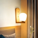 Milk Glass Mini Wall Mounted Lighting Nordic Style 1 Light Indoor Wall Light in Wood for Bedroom