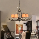 Balcony Conical Hanging Lamp with Antlers Height Adjustable Vintage Fabric 6/8 Lights Pendant Lighting in Dark Brown