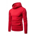 Mens Solid Color Stand Collar Long Sleeve Classic Pullover Hoodie with Pocket