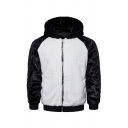 Men's White and Black Color Block Patchwork Fuzzy Sherpa Zipper Pullover Hoodie