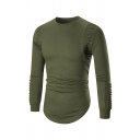 Pleated Long Sleeve Round Neck Curved Hem Plain Pullover Sweatshirt