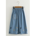 Preppy Cute Embroidered Cat Claw Printed Denim A-Line Midi Skirt with Pocket