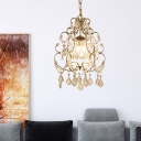 Crystal Chandelier Lamp Modern 1 Lights Champagne Indoor Pendant Light for Foyer