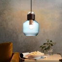 Geometric Hanging Ceiling Light with Amber/Blue/Smoke Glass Shade Simple 1 Light Brass Pendant Lamp