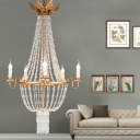 5 Lights Empire Chandelier Lamp Vintage Clear Crystal Foyer Pendant Lamp in Gold