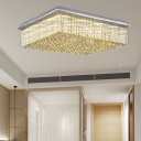 Clear Crystal Rectangle Ceiling Lamp European Style LED Ceiling Mount Light for Hotel Living Room