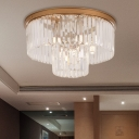 Office Bedroom Round Flush Ceiling Light Clear Crystal Contemporary Ceiling Mount Light in Gold
