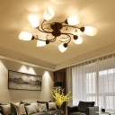 Swirl Crystal Semi-Flush Mount Contemporary Glass Metal Ceiling Light Fixtures in Black for Indoor