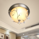 Bowl Flushmount Ceiling Fixture Modern Glass and Metal 1 Head Flushmount Lights with Crystal for Living Room