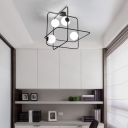 Metal Frame Flush Light with Orb White Glass Shade Nordic Style 4 Lights Flush Mount Light