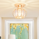 Oval Crystal Light Fixtures Ceiling Modern Design Metal Close to Ceiling Light in Gold for Hallway