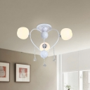 3/6/10 Lights Globe Semi Flush Light Modern Opal Glass Black/White Semi Flush Mount Light