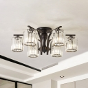 6/8/10 Lights Modern Semi Flush Light with Cylinder Clear Glass Shade Indoor Semi Flushmount in Black Finish