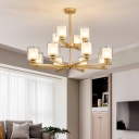Black/Gold/Silver 2 Tiers Chandelier Lighting Modernism 12-Light Metal Hanging Ceiling Light with Cylinder Glass Shade