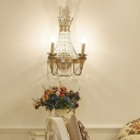 2 Lights Candle Wall Light with Crystal Bead Mid Century Metallic Wall Lamp in Champagne for Living Room
