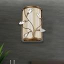 Metal Cylinder Wall Light with Leaf Crystal Bedroom Kitchen 1/3 Lights Modern Sconce Light in Brass and Beige