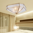 Traditional Geometric Flush Ceiling Lamp Dimple Glass 4 Lights Flushmount Lighting in Brass for Living Room