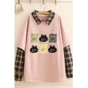 Lovely Cartoon Cat Collage Printed Plaid Patchwork Long Sleeve Oversized Sweatshirt for Studens