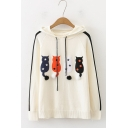 Students Preppy Cartoon Cat Pattern Stripe Long Sleeve Knitted Drawstring Hoodie