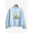 Letter I'LL BE A DINOSAUR Cartoon Pattern Printed Mock Neck Sweatshirt