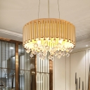 4/5 Lights Drum Hanging Pendant Light with Crystal Cube Modern Chandelier Light in Brass, 16