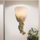 1 Light Bowl Wall Lighting with Right/Left Angel Loft Style Opal Glass Shade Wall Mount Lamp in Gold/White