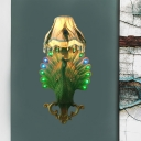 1 Light Peacock Wall Sconce Light with Scalloped Shade Resin Loft Style Wall Light in Green