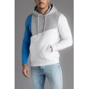 Mens Casual Cut and Sew Color Block Panel Long Sleeve Drawstring Fitted Hoodie